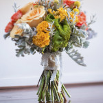 Quirky Textured Bouquet: Roses, Celosia, Billy Buttons