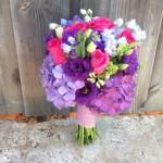 Vibrant summer bouquet: Roses, Delphinium, Hydrangea
