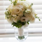 Fresh Cream and White with a hint of green: Roses, Lisianthus, Dahlias