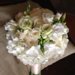 Soft and fluffy Hydrangea, Roses, Lisianthus and Freesias