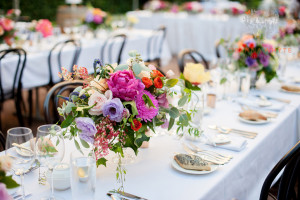 Mixed summer blooms for an outdoor reception at Bisops House