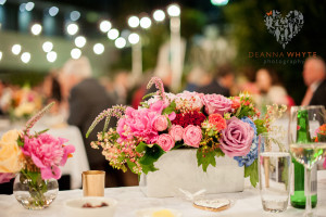Vibrant mix of garden style blooms for a summer outdoor reception at Bishops House